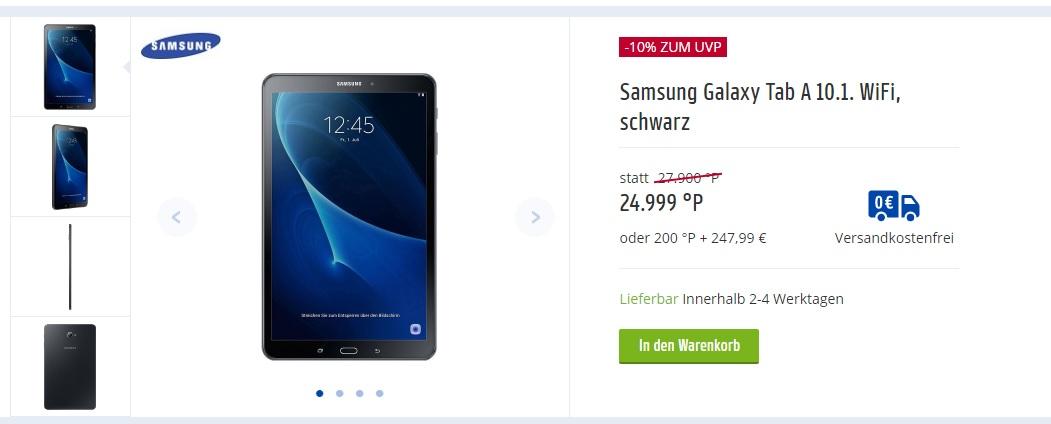 Payback - Samsung Galaxy Tab A 10.1. WiFi, schwarz