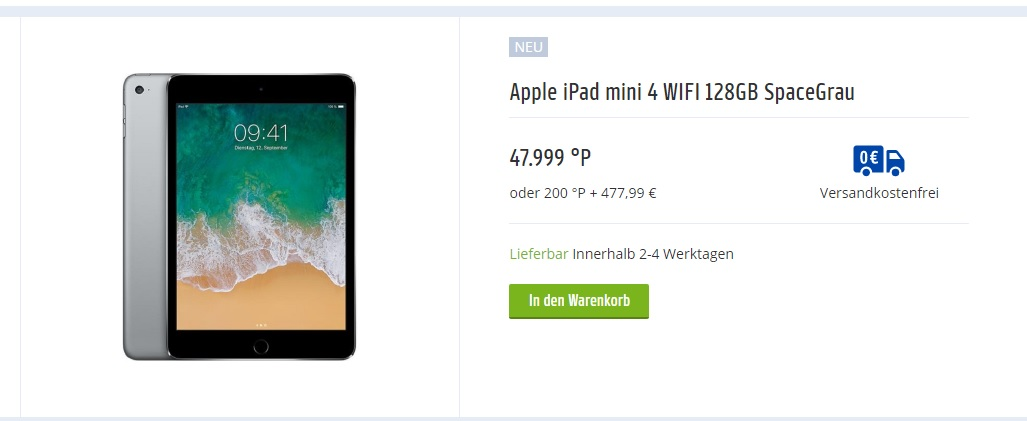 Payback - Apple iPad mini 4 WIFI 128GB SpaceGrau