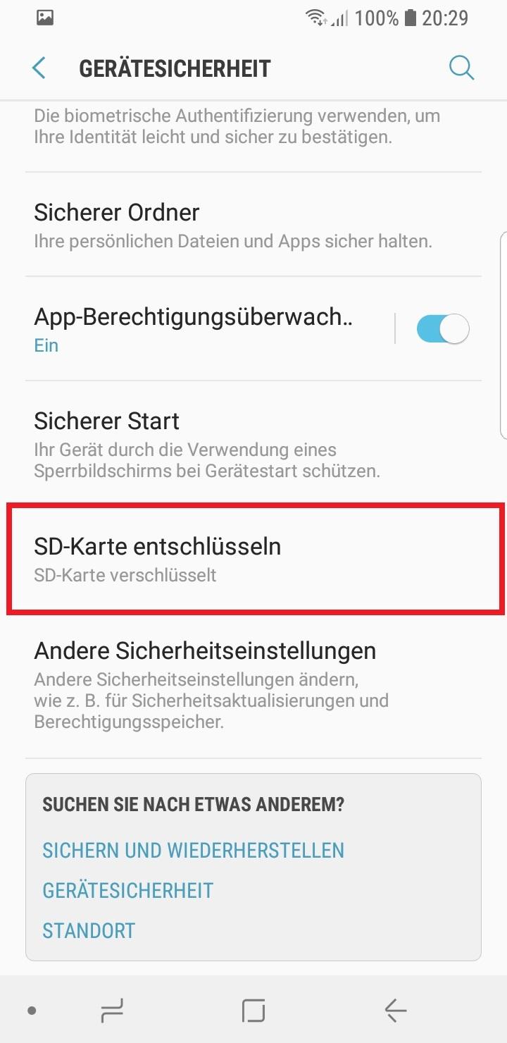 jetzt auf SD-Karte entschlüsseln klicken