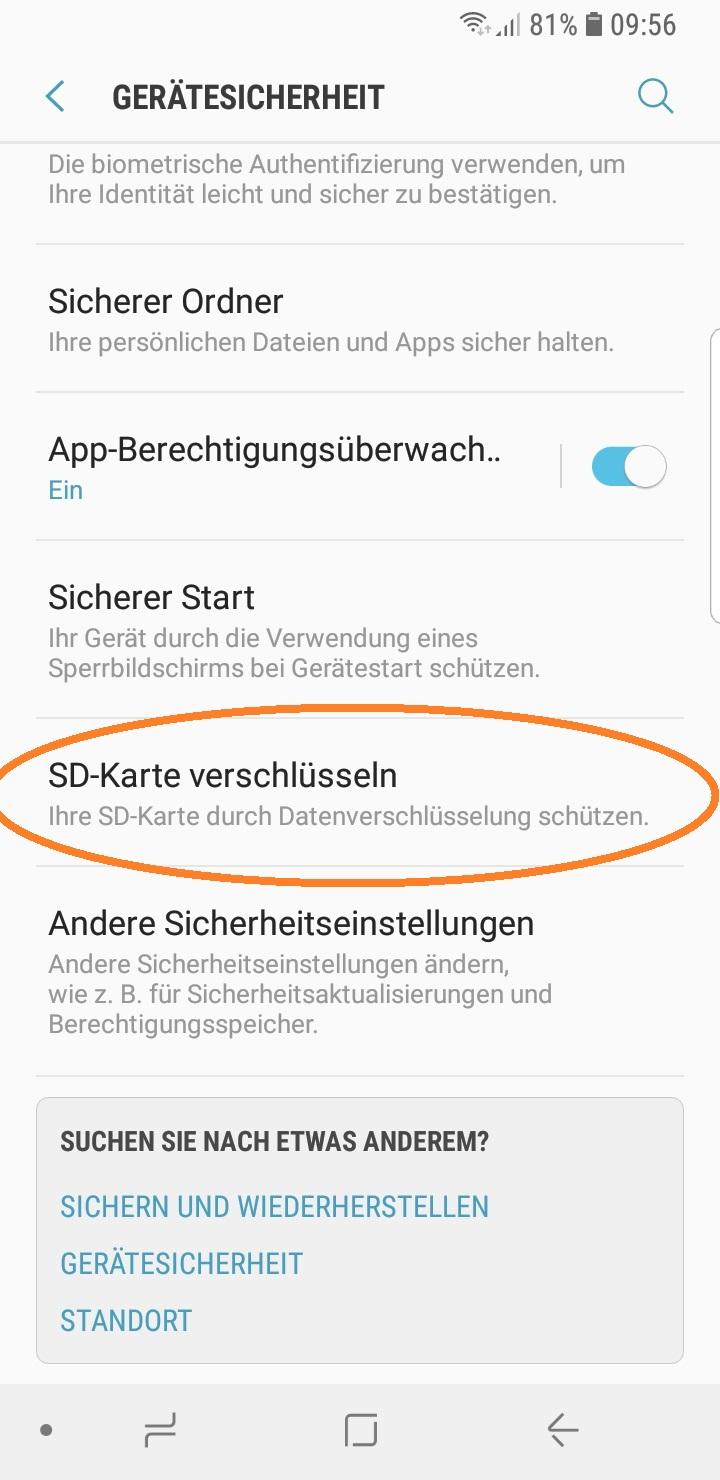 SD-Karte verschlüsseln klicken sodann